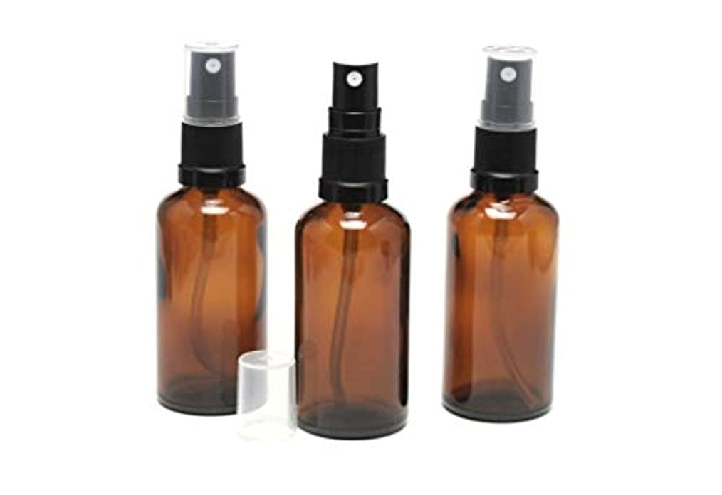 弁護肥料粘土遮光瓶 スプレーボトル (グラス/アトマイザー) 50ml アンバー/ブラックヘッド 3本セット 【 新品アウトレットセール 】