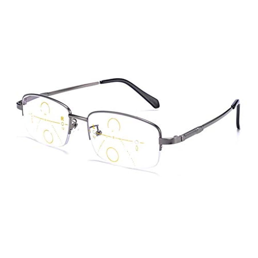 インテリジェント老眼鏡 累進多焦点リーディングメガネ、TR90フレーム遠近両用メガネ、HD樹脂レンズ、非処方メガネ、放射線防護/インテリジェントズーム/コンフォートフィット