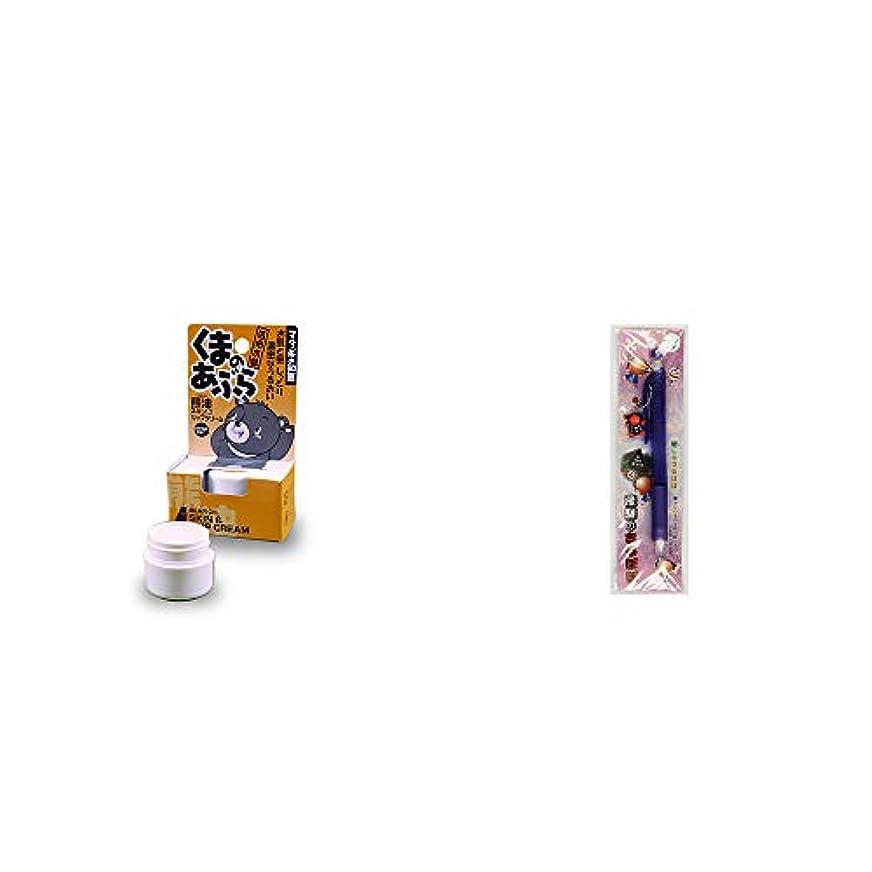 太字花火シマウマ[2点セット] 信州木曽 くまのあぶら 熊油スキン&リップクリーム(9g)?さるぼぼ 癒しシャープペン 【パープル】