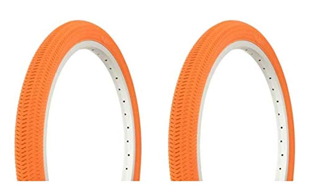 付ける食品修理可能Lowrider タイヤセット 2タイヤ 2タイヤ デュロ 20インチ x 1.95インチ オレンジ/オレンジ サイドウォールバイクタイヤ 自転車タイヤ BMXバイクタイヤ