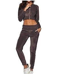 Keaac 女性のベルベットトラックスーツ2ピースクロップドジャケットスウェットパンツジョガーの衣装