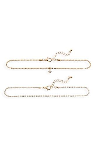 ビーピー アクセサリー ネックレス・チョーカー・ペンダントトップ BP. 2-Pack Rhinestone Necklaces Gold/ Crys [並行輸入品]