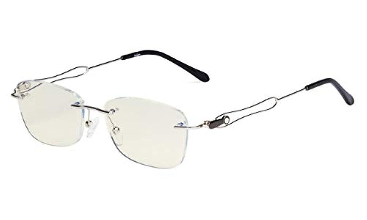 ヒューマニスティックエンジニア高齢者アイキーパー(Eyekepper)パソコン用リーディング(老眼鏡)スクエア型 リムスレ 縁なし ブルーライトカット UV420カット 反射防止メタルフレーム レーディス用, ブラック+1.75