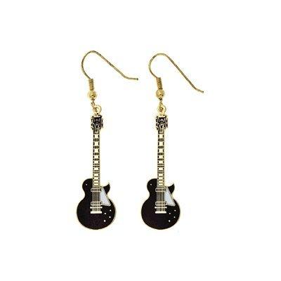レスポール ギター 黒 ピアス Les Paul Guitar Earrings