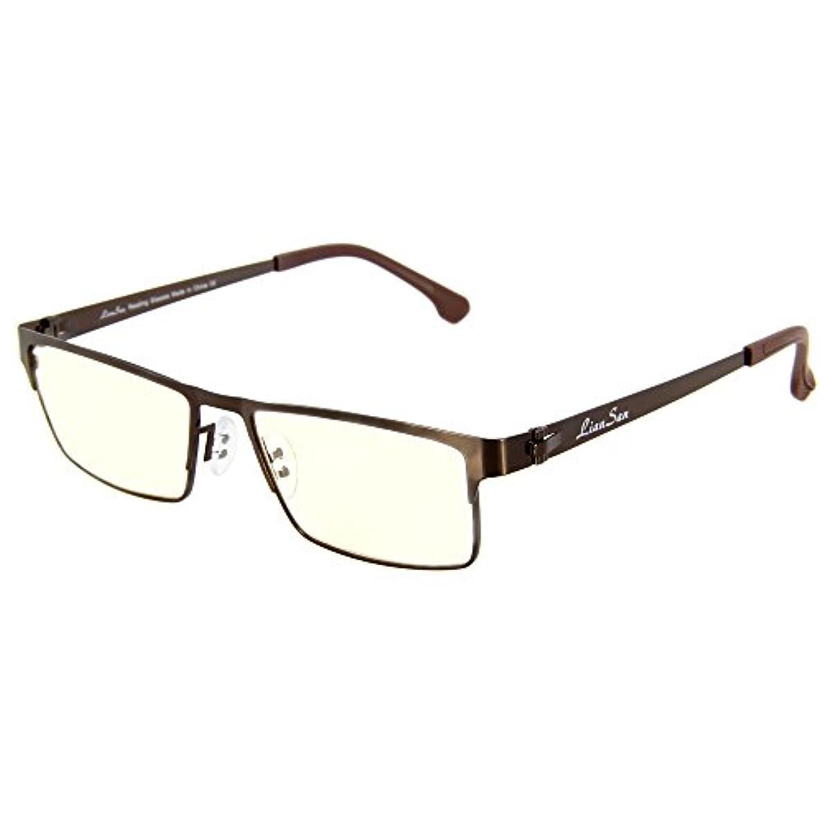 (レンサン) LianSan老眼鏡 ユニセックス レディース メンズ 女性 男性 スクエア メタル フレーム おしゃれな リーディンググラス シニアグラス 老眼鏡 L5610 (+2.50, ブラウン)