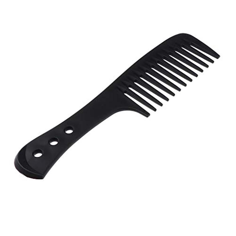 横たわる終了しましたニンニクヘアコーム ヘアブラシ ワイド歯ブラシ 櫛 帯電防止 プラスチック製 4色選べ - ブラック