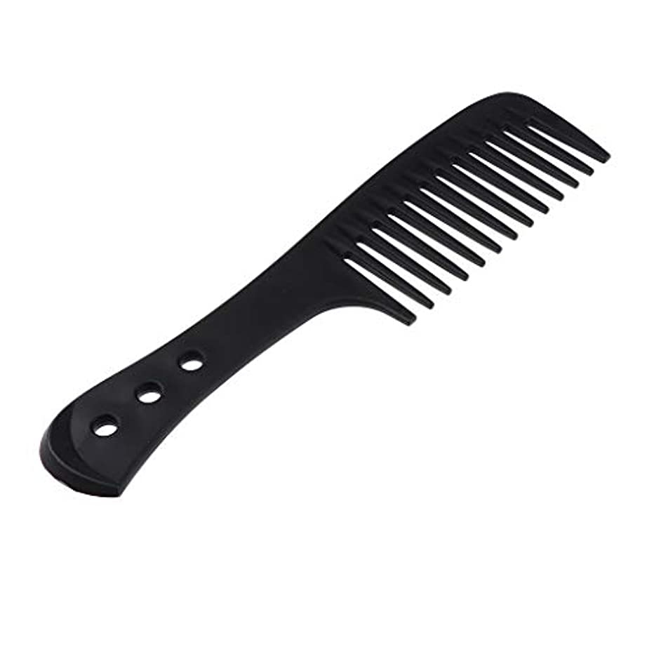 カード階バットヘアコーム ヘアブラシ ワイド歯ブラシ 櫛 帯電防止 プラスチック製 4色選べ - ブラック