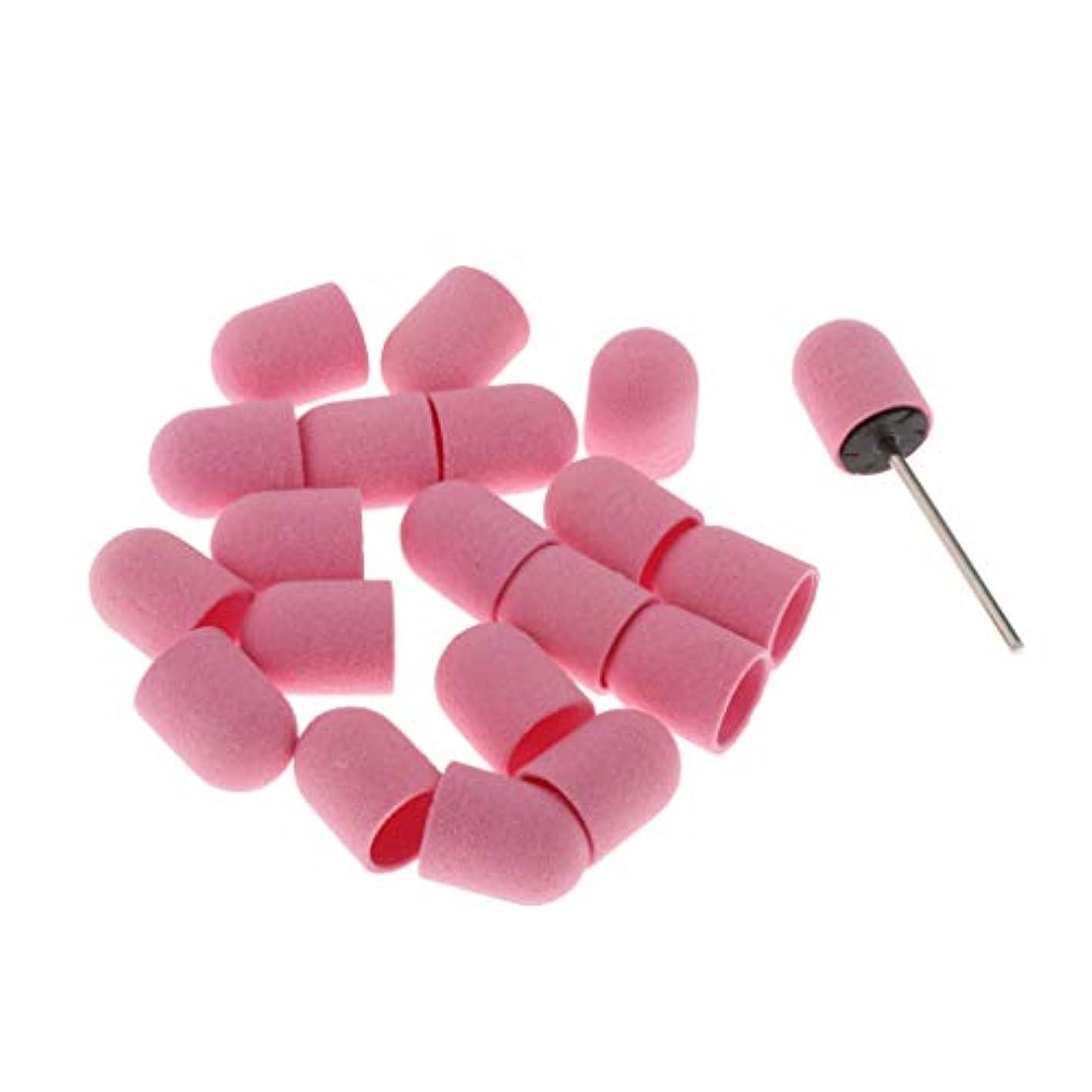しゃがむ面積便益SM SunniMix マニキュア ドリルビットバフ 研磨ビットキャップ 研削ビットバフ ネイルアート 用品 約20本 全5カラー - ピンク