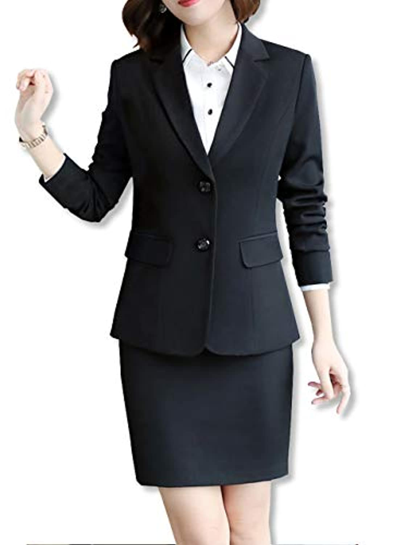 [カナクレール] レディース スーツ パンツ スカート ジャケット ビジネス オフィス 上下 2点セット 黒 (M~XXL)