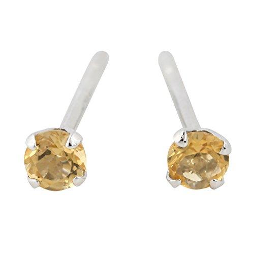 11月 誕生石 シトリン 天然石 3mm 一粒 レディース シルバー925 ピアス (黄水晶)