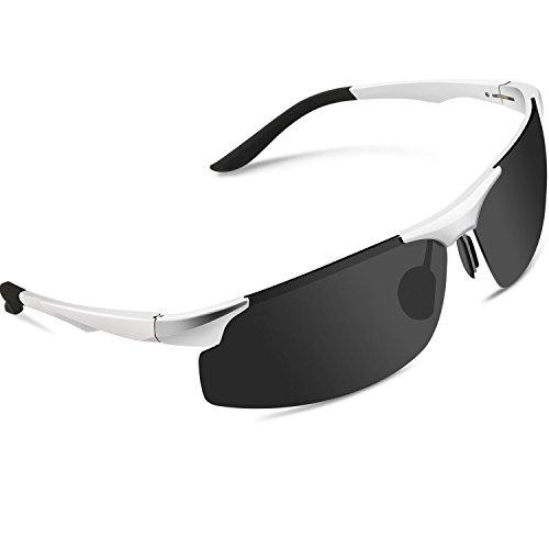 Torege 偏光レンズ スポーツサングラス 超軽量 アルミニウム・マグネシウム合金 UV400 紫外線カット スポーツサングラス/ 自転車/釣り/野球/テニス/スキー/ランニング/ゴルフ/ドライブ M291 (シルバー&グレーレンズ)