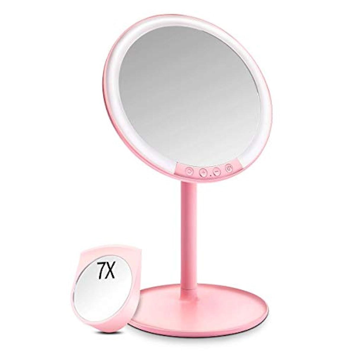 雰囲気重量アドバイス化粧鏡 化粧ミラー Morpilot 卓上ミラー 女優ミラー 66個LED付きミラー 7倍拡大鏡付き 3色調節可能 明るさ調節可能 USB充電式 120度回転 収納ベース 可愛い鏡
