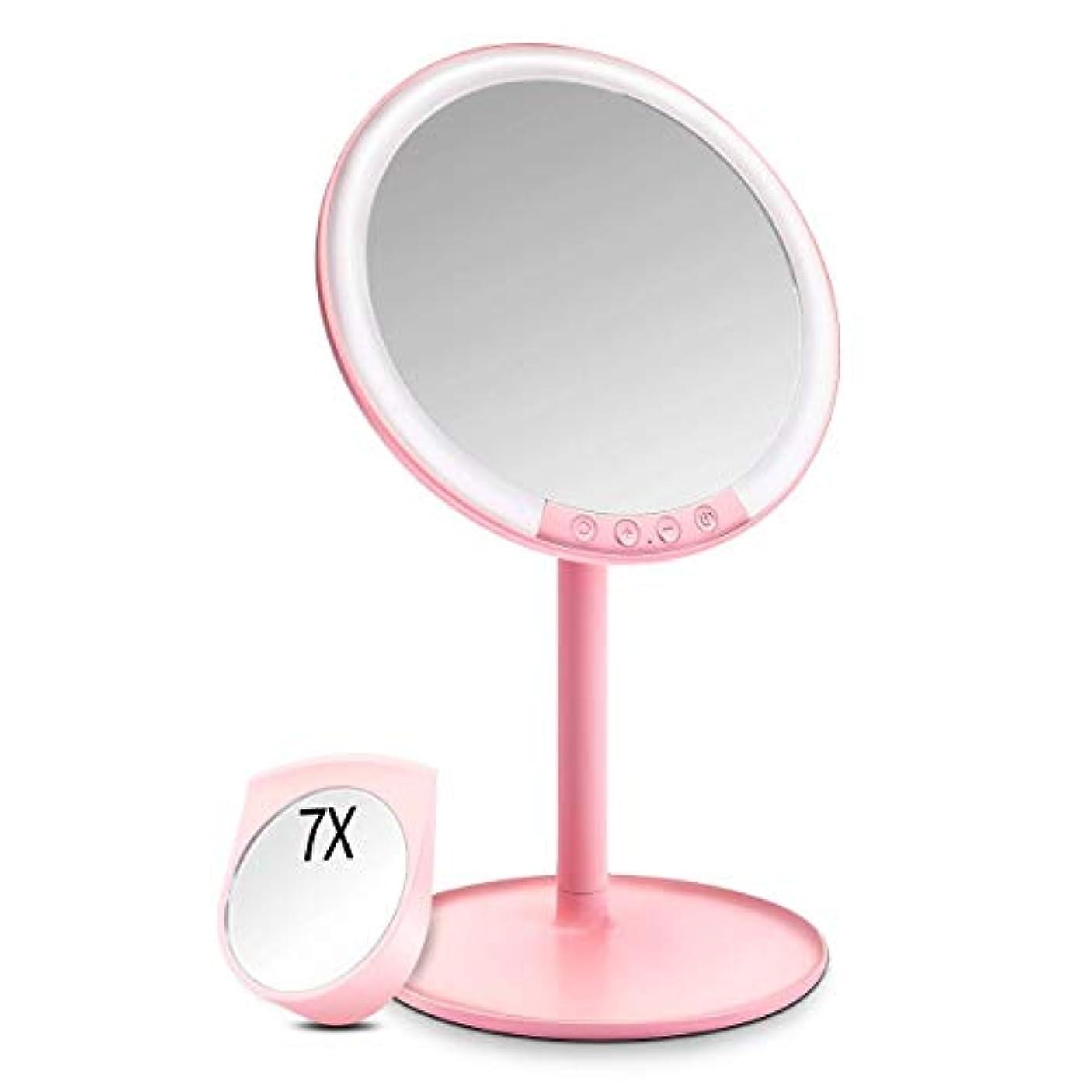 キリン化粧面白い化粧鏡 化粧ミラー Morpilot 卓上ミラー 女優ミラー 66個LED付きミラー 7倍拡大鏡付き 3色調節可能 明るさ調節可能 USB充電式 120度回転 収納ベース 可愛い鏡