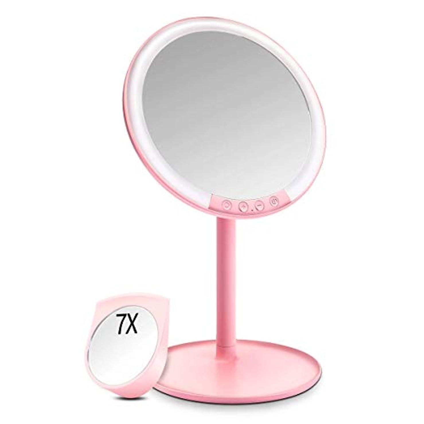 一握りラダのぞき見化粧鏡 化粧ミラー Morpilot 卓上ミラー 女優ミラー 66個LED付きミラー 7倍拡大鏡付き 3色調節可能 明るさ調節可能 USB充電式 120度回転 収納ベース 可愛い鏡