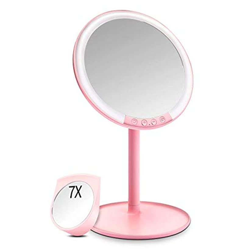幸福時予約化粧鏡 化粧ミラー Morpilot 卓上ミラー 女優ミラー 66個LED付きミラー 7倍拡大鏡付き 3色調節可能 明るさ調節可能 USB充電式 120度回転 収納ベース 可愛い鏡