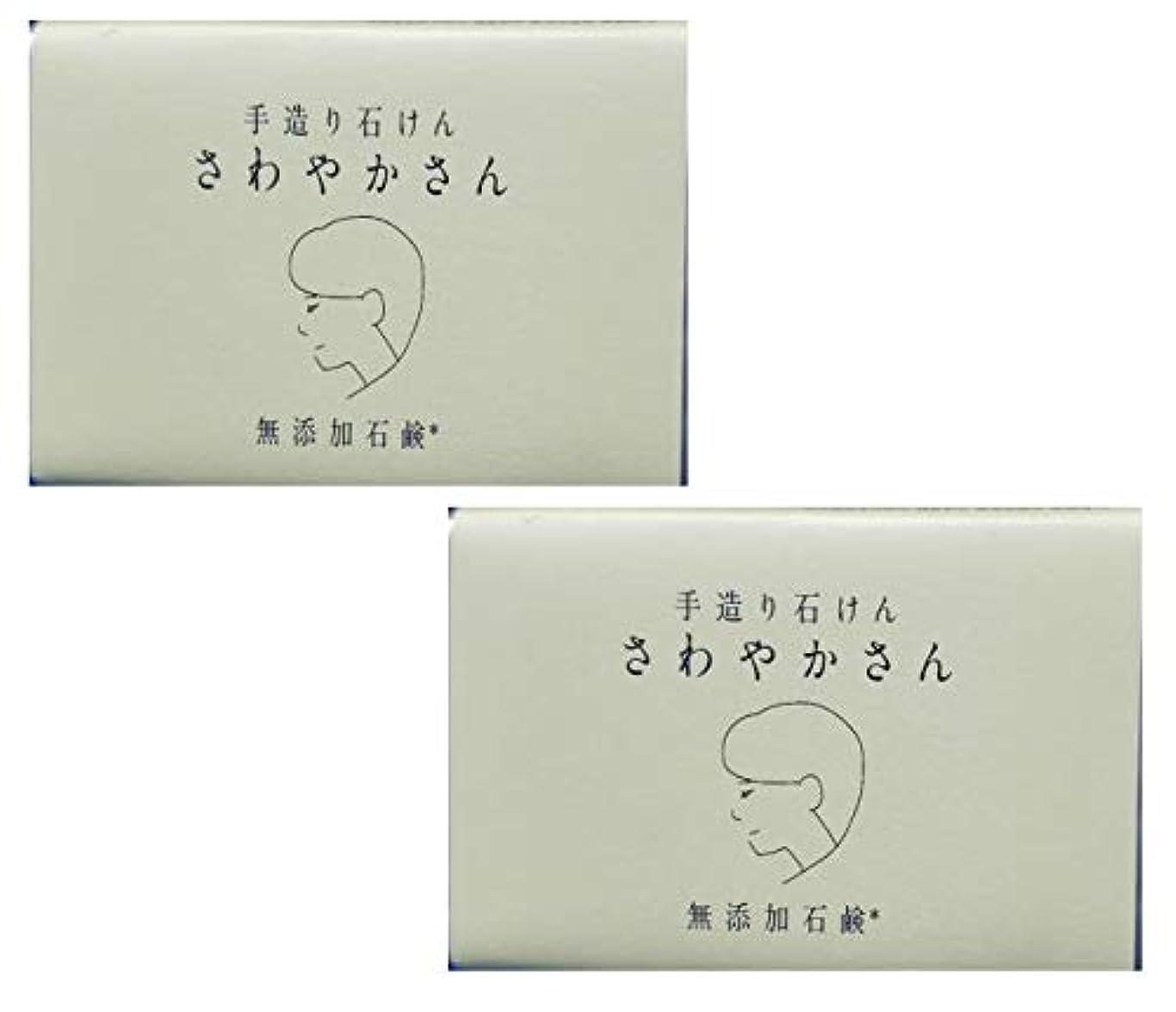 方法論知り合いになる綺麗なやさしい 手造り石鹸 「さわやかさん」90g 無添加 コールドプロセス製法 洗顔せっけん (2個セット)