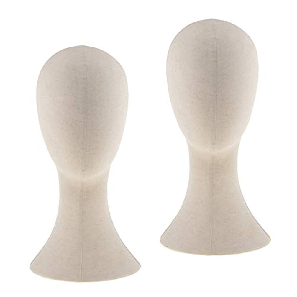 タイマー厚い寝るPerfeclan 2個入り マネキンヘッド トルソー 頭 カット練習 頭部 女性 ウィッグマネキン ウィッグスタンド