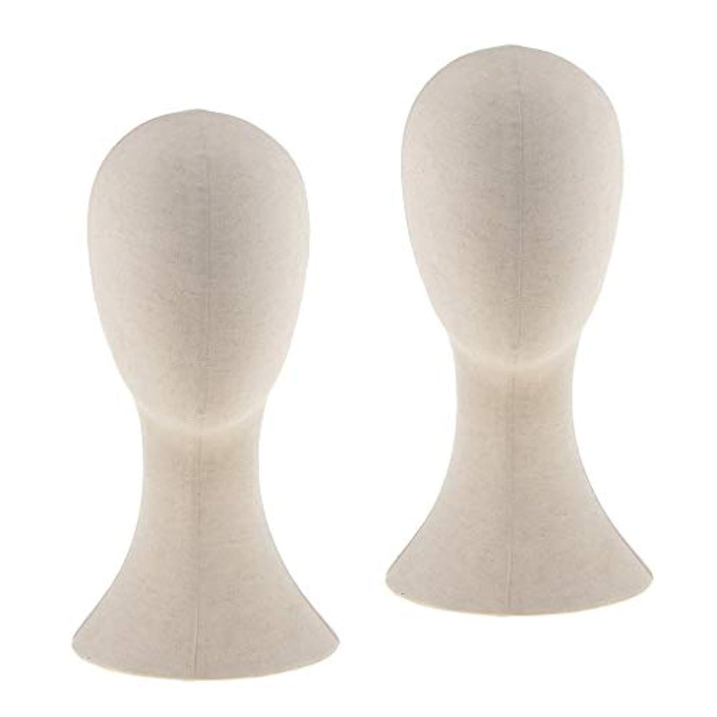 陽気な理想的ブレンドPerfeclan 2個入り マネキンヘッド トルソー 頭 カット練習 頭部 女性 ウィッグマネキン ウィッグスタンド