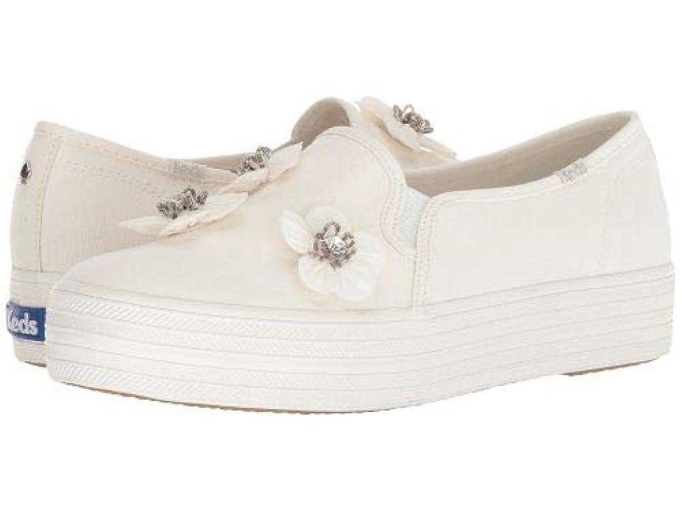 考案するシットコム波紋Keds x kate spade new york(ケイト?スペード) レディース 女性用 シューズ 靴 スニーカー 運動靴 Bridal Triple Decker Sequin Flowers - Bright White Canvas [並行輸入品]