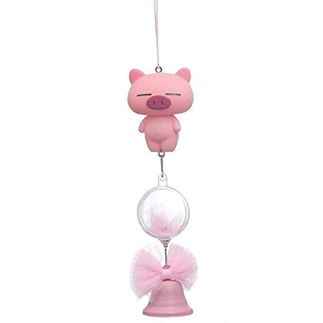 参加者説教する地味なHongyuantongxun 風チャイム、シリコーン素材クリエイティブ豚の風チャイム、パープル、全身について27cmの,、装飾品ペンダント (Color : Pink)