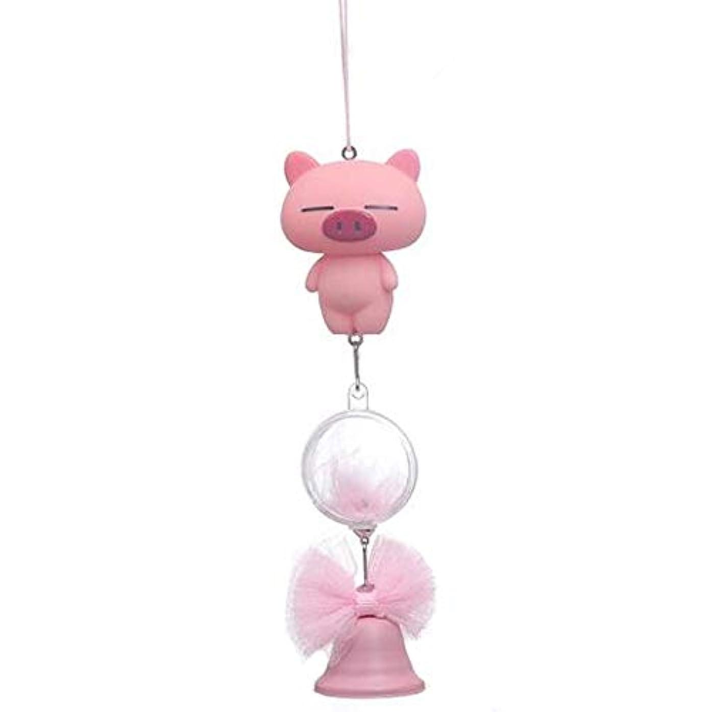 経済イタリックプログレッシブQiyuezhuangshi 風チャイム、シリコーン素材クリエイティブ豚の風チャイム、パープル、全身について27cmの,美しいホリデーギフト (Color : Pink)