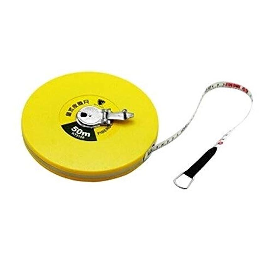 栄光着るくつろぐNTSM 50メートルファイバールーラータイプテープメジャーテープルーラースケールエンジニアリング測定ツール、黄色 (Color : Yellow, Size : 50m)