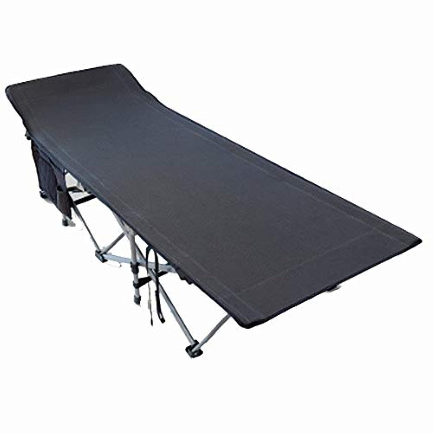 分類第二仮定屋外キャンプベッドアルミ折りたたみベッド大型軽量ベッド (Color : Black)