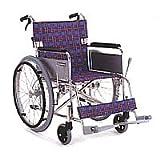 車椅子 自走式 アルミ軽量 座幅42cm 紫チエック色