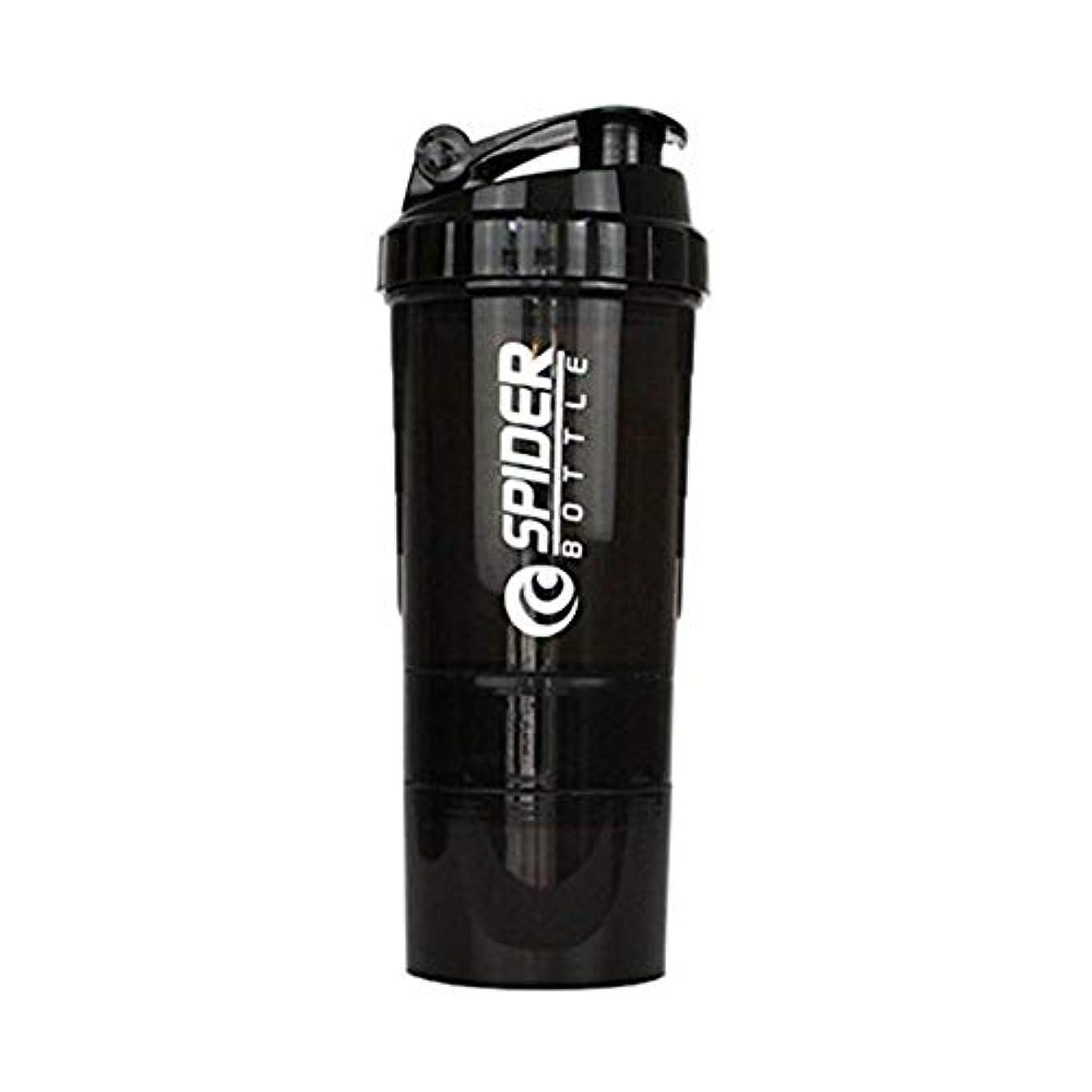 北方厚くする費やすGOIOD 3層ハンディー式 ウォーターボトル プロテインシ シェーカーボトル フィットネス用 プラスチック 目盛り ジム ダイエット スポーツ 栄養錠剤ビタミン入れ(ブラック) 600ML (ブラック)