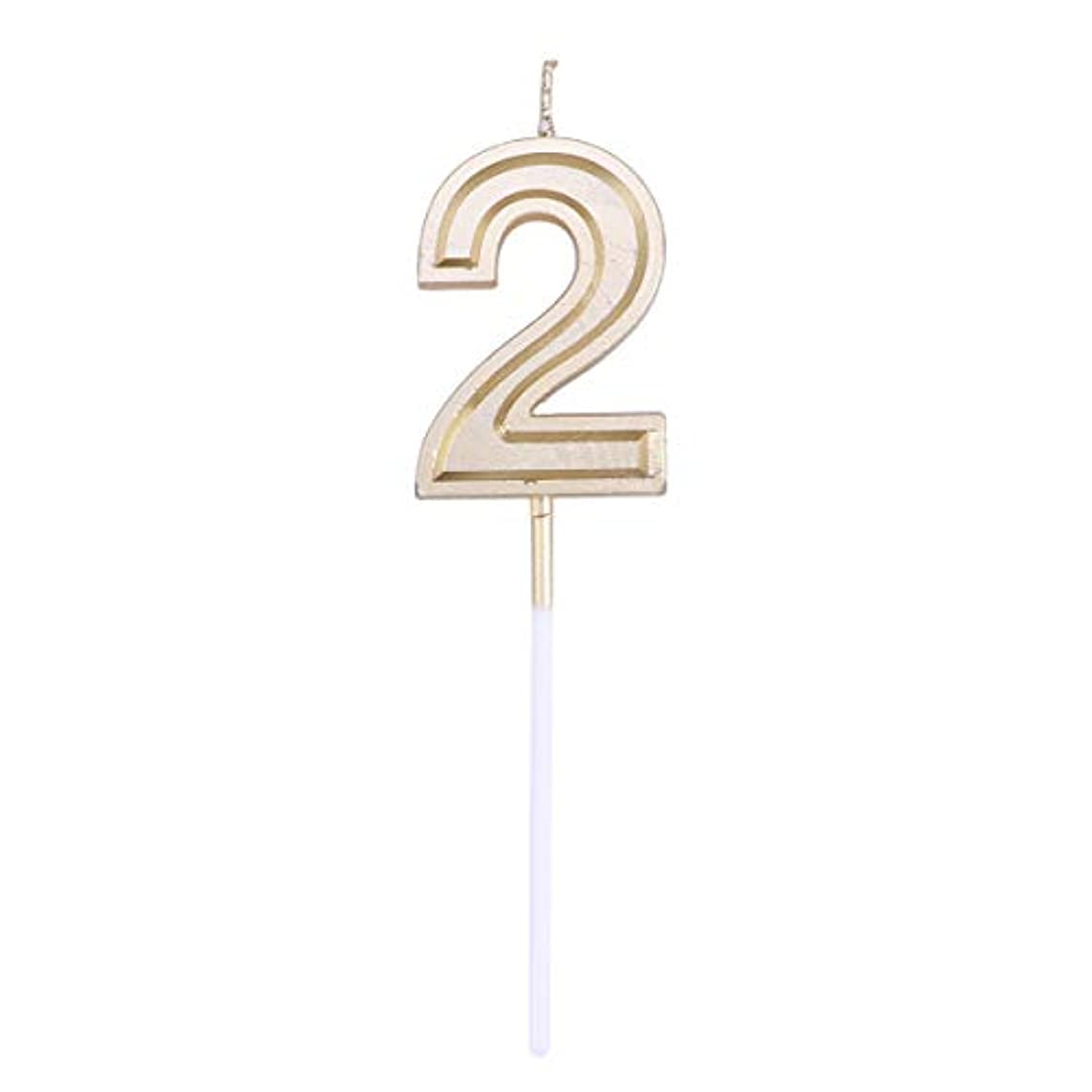 失泣いているサーバToyvian ゴールドラメ誕生日おめでとう数字キャンドル番号キャンドルケーキトッパー装飾用大人キッズパーティー(ナンバー2)