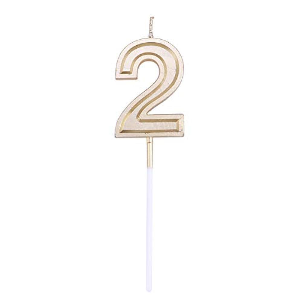 受賞扇動代数Toyvian ゴールドラメ誕生日おめでとう数字キャンドル番号キャンドルケーキトッパー装飾用大人キッズパーティー(ナンバー2)