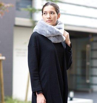 カルドニード・エリート ファッション ファースヌード 日本製 ショップチャンネル (ネイビー)