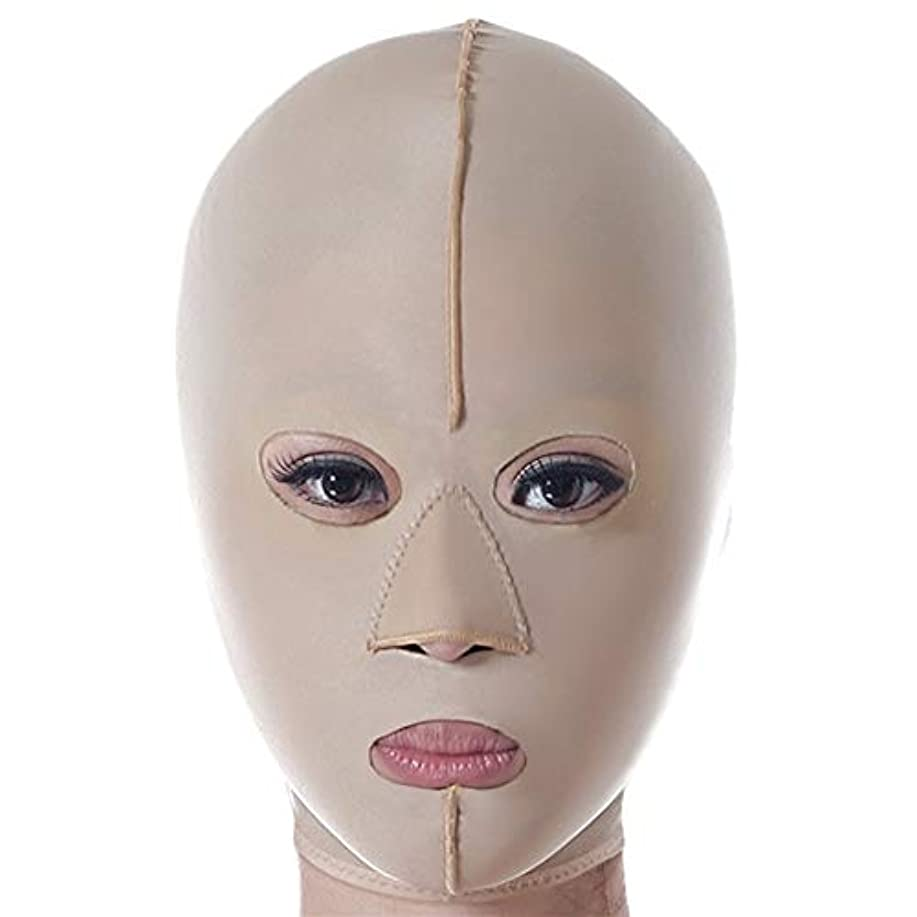 ロビーレッスンチラチラするベルト、通気性と快適に防ぐフェイシャル?ルーピングを顔持ち上げ、しっかりと咬筋二重あごスリープ薄い顔の包帯フルフェイスフード、4つのサイズを削除リフティング (Size : M)