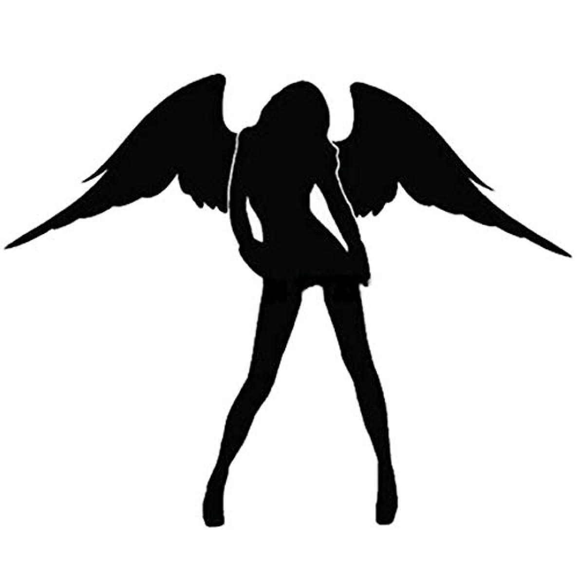 デイジーサンダル比類のないエンジェル&デビルパターンカーステッカー反射セクシービューティー女性カーステッカービニールデカールカーウィンドウトラックオートバイ用-ブラック