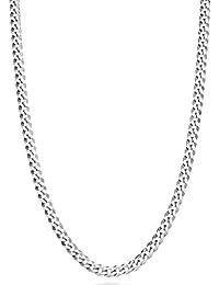 "MiaBella Solid 925 Sterling Silver Italian 3.5mm Diamond Cut Cuban Link Curb Chain Necklace for Women Men, 16""-18""-20""-22""-24""-26""-30"""