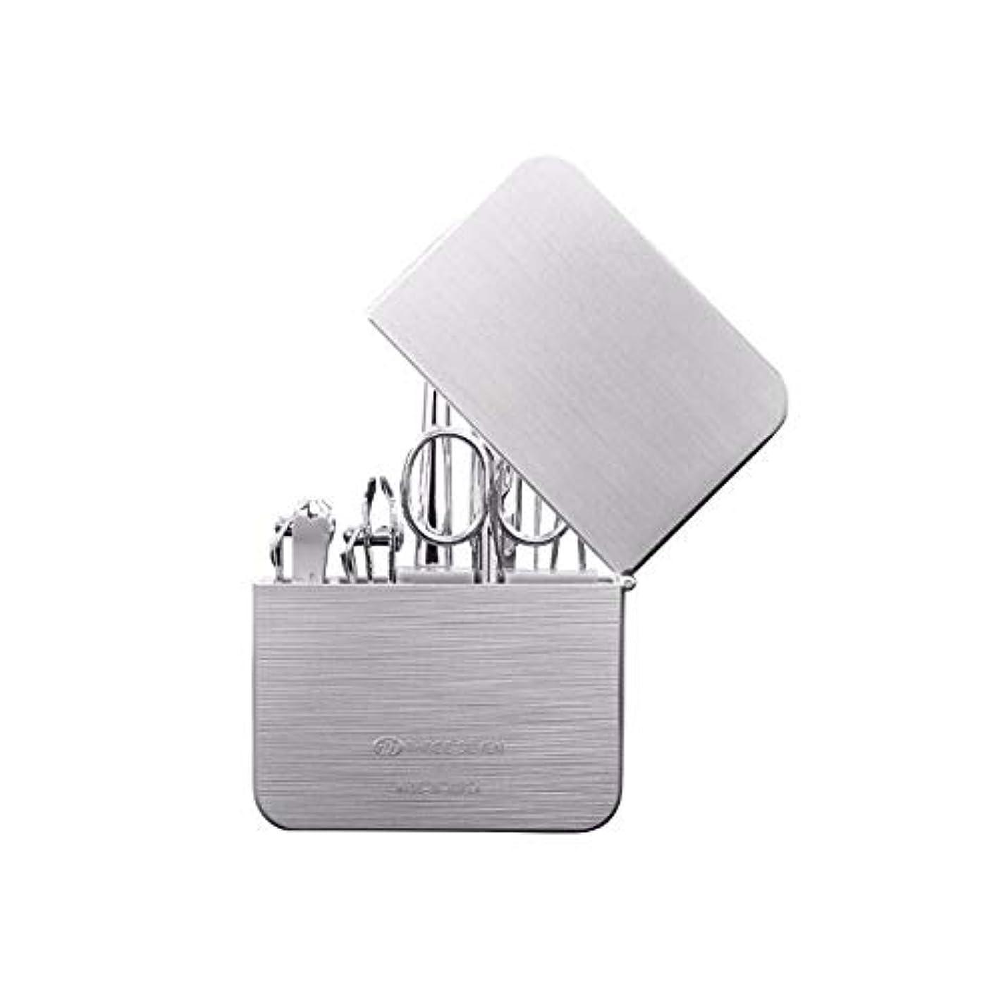 ゆりかごびっくり数学CHAHANG ネイルクリッパーを設定家庭用ネイルはさみネイルクリッパー耳スプーンペディキュアナイフセットパーソナルケア修復能力のコンビネーション7セット (Color : Silver)