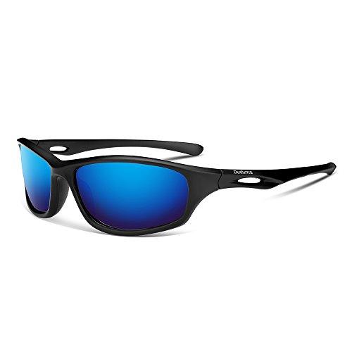 Duduma メンズ レディース 偏光 スポーツ サングラス 運転 釣り用TR80821 (ブラックマット/ブルー)