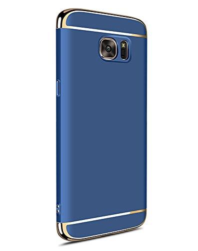Samsung Galaxy S7 Edge ケース、Uniqe 超薄型 擦り傷防止 耐スクラッチ おしゃれ 3パーツ式保護ケース (Galaxy S7 Edge, ブルー)