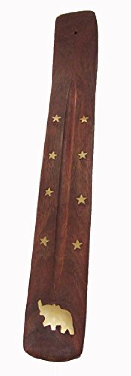 仲間農学選挙手作り木製Incense Holder with真鍮Inlay with Elephant &星デザイン