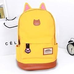 【ノーブランド品】 猫耳 猫の手 リュック バッグ キャンバス +ポーチ ネックレス
