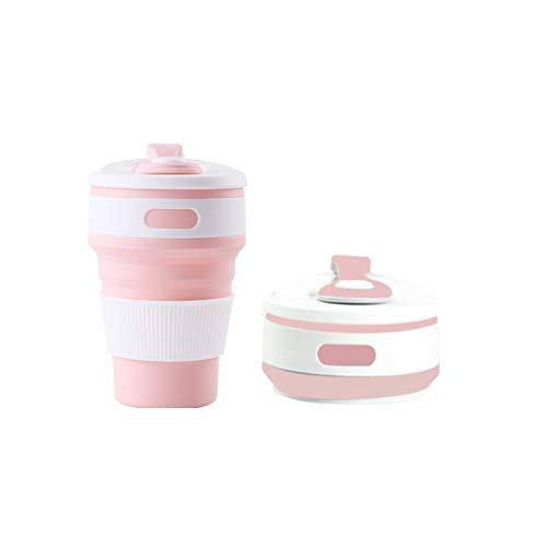 折りたたみカップ 携帯シリコンカップ 350ml 耐熱コーヒーカップ 蓋付き トラベルカップ アウトドア 旅行 出張 自宅用 食洗機対応 FDA認定 BPAなし (ピンク)