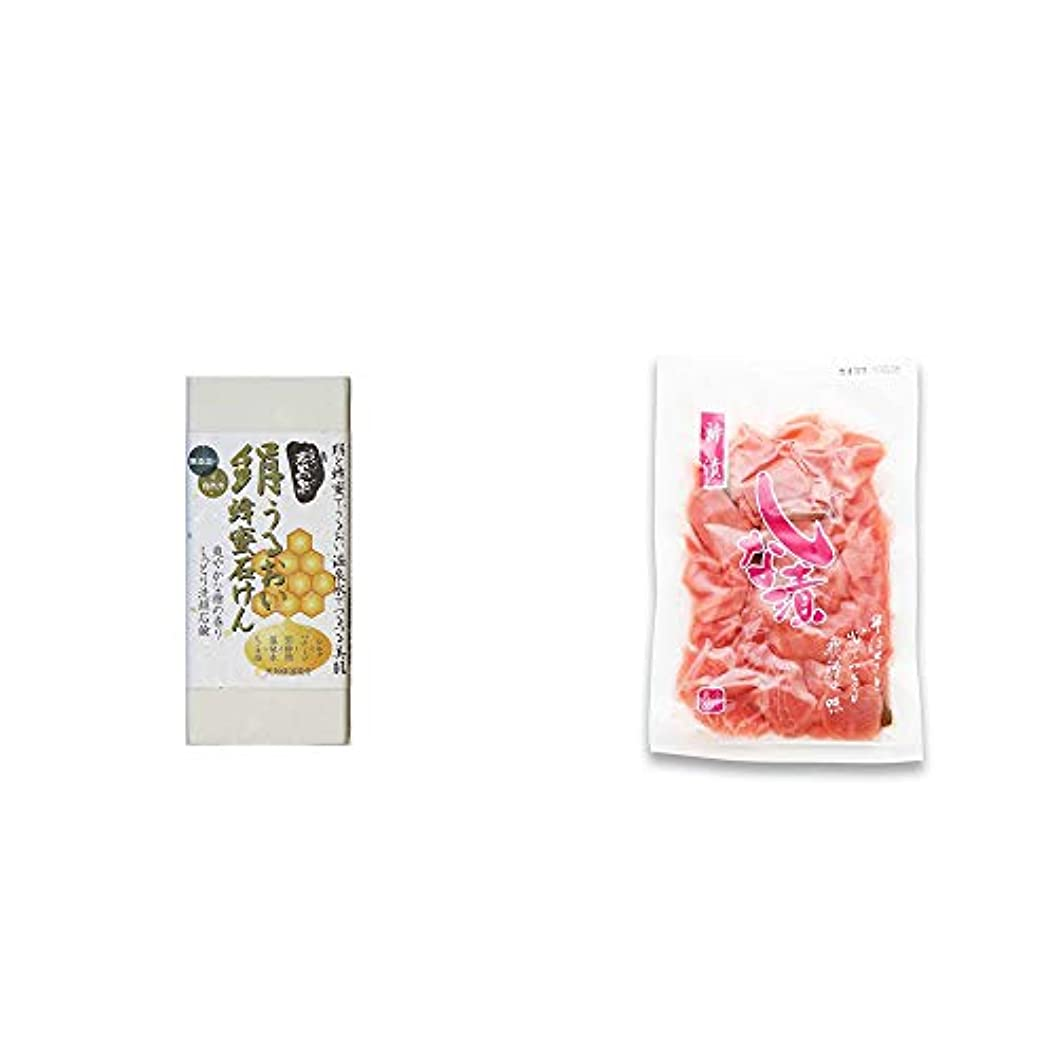 原稿細いエンディング[2点セット] ひのき炭黒泉 絹うるおい蜂蜜石けん(75g×2)?しな漬け(160g)