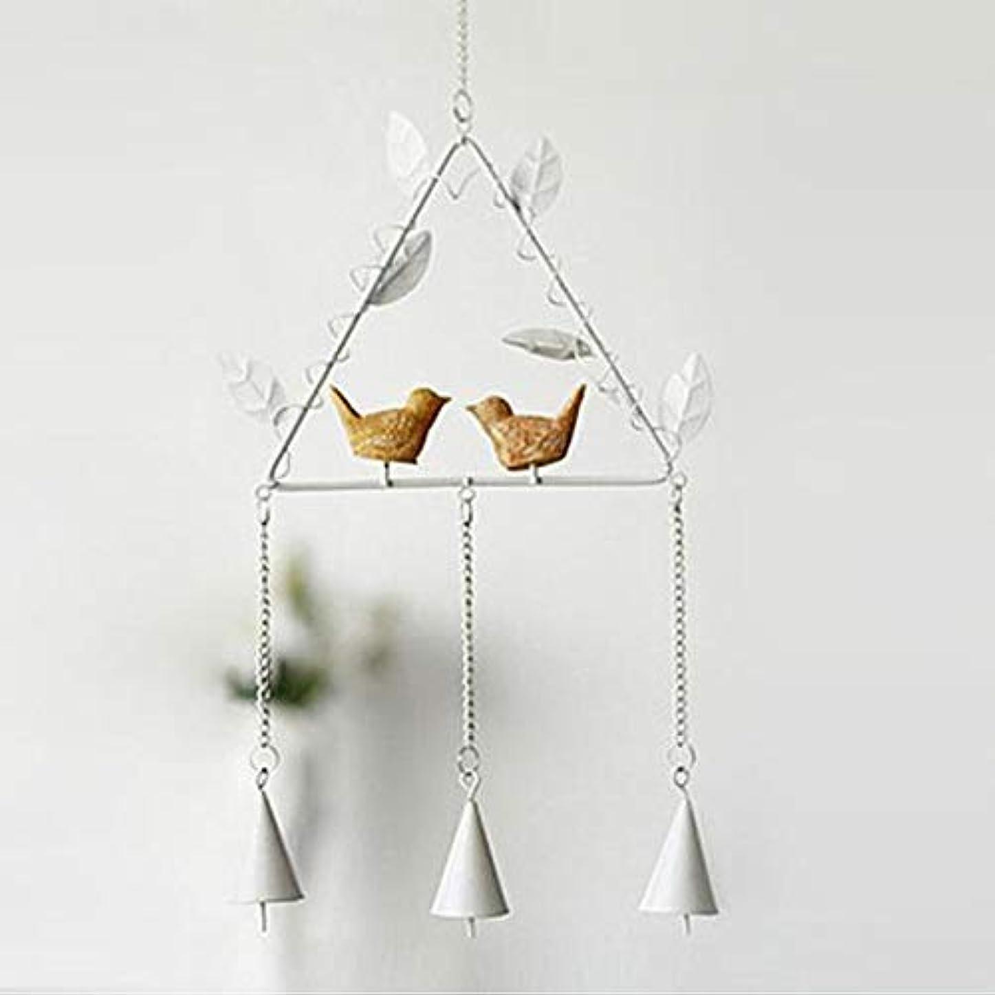 腐敗神経障害ラックChengjinxiang 風チャイム、アイアンクリエイティブ手作りの鳥風チャイム、グレー、全身について56センチ,クリエイティブギフト (Color : Triangle White)