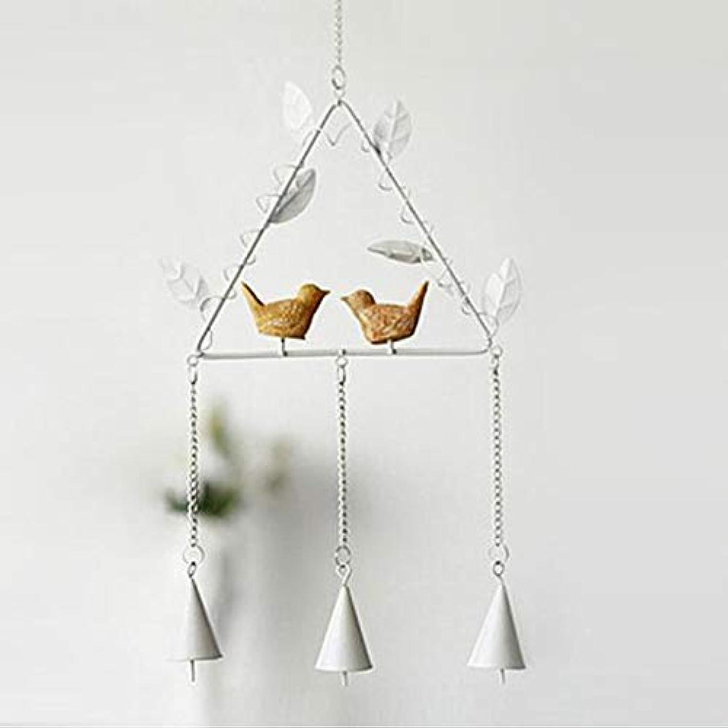 ゲインセイ崇拝する従うQiyuezhuangshi 風チャイム、アイアンクリエイティブ手作りの鳥風チャイム、グレー、全身について56センチ,美しいホリデーギフト (Color : Triangle White)