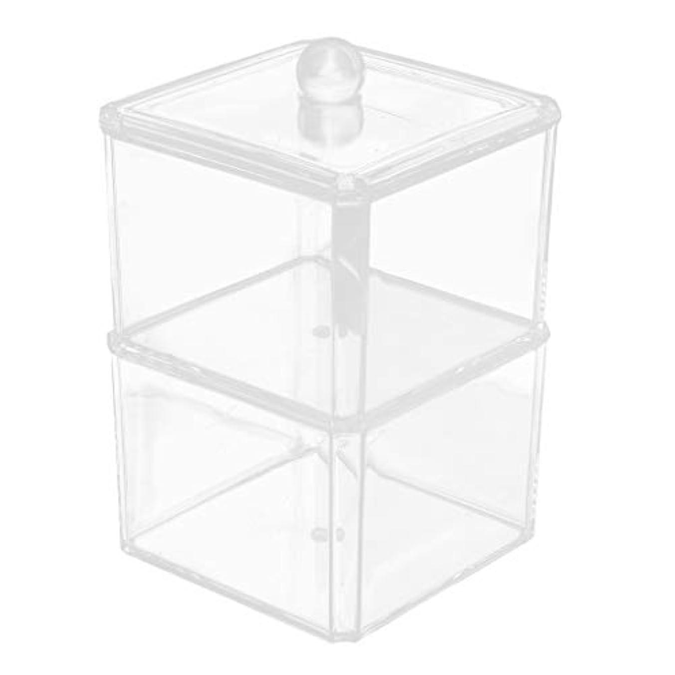 影響忠実砂B Blesiya メイク収納ボックス 綿棒 化粧品 コットンスティック ボックス 蓋付き 全7サイズ - C