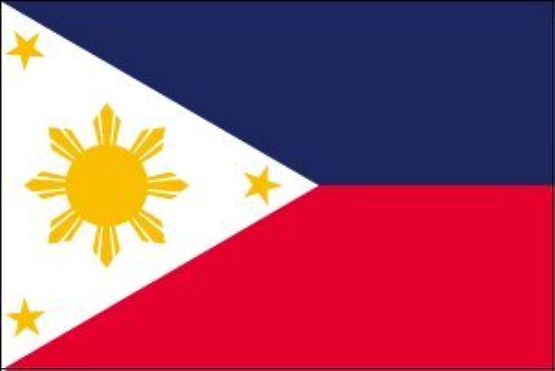 世界の国旗 フィリピン 国旗 ポータブルフラッグ [ 25×37.5cm ポール付き手旗 高級テトロン製 ]