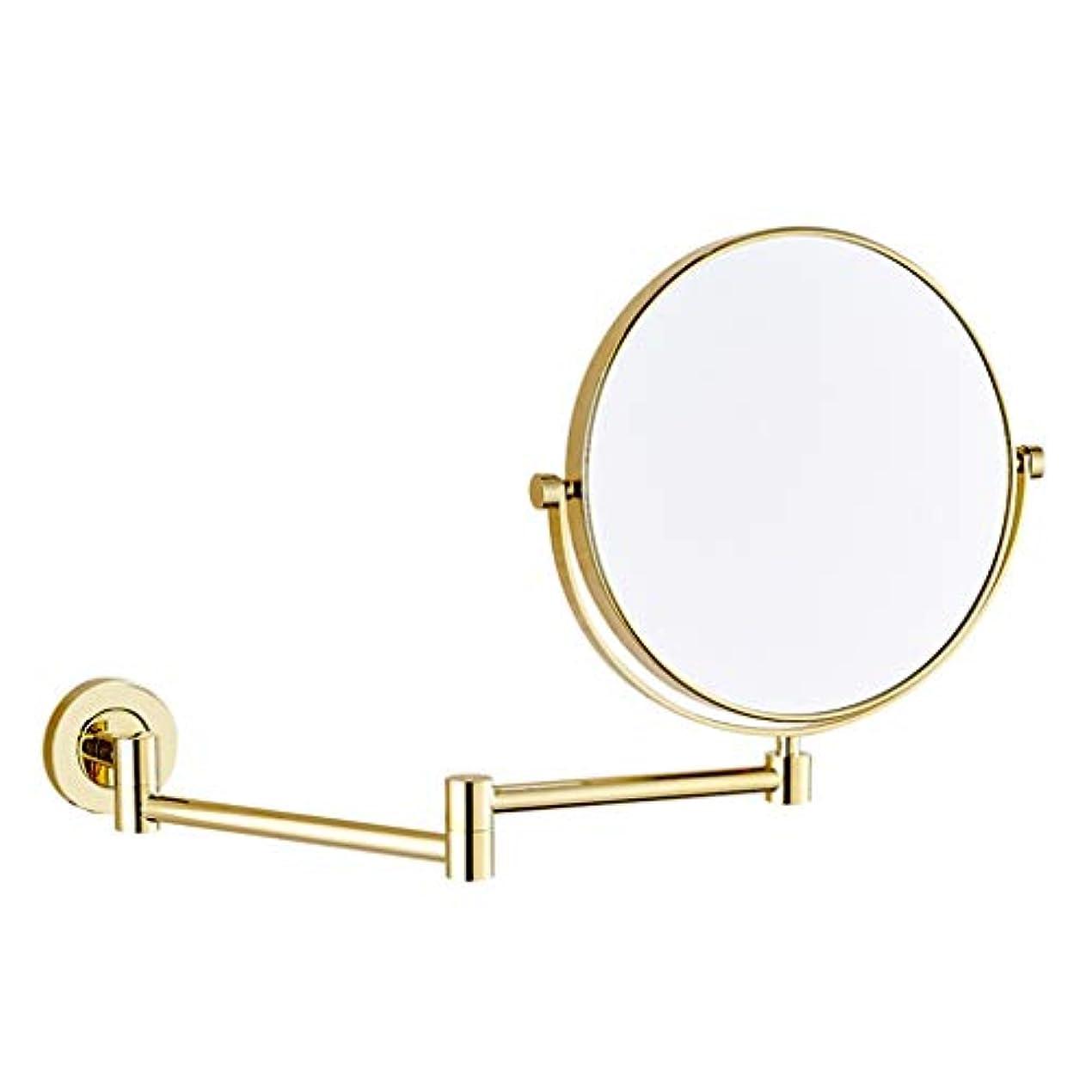 ハッチトラフ有効な化粧鏡バスルーム 8インチ化粧鏡格納式銅折りたたみ浴室壁掛け美容鏡5倍虫眼鏡360度回転虚栄心ミラー 照明付きメイクアップミラー (色 : ゴールド, サイズ さいず : 8 inches 5X)