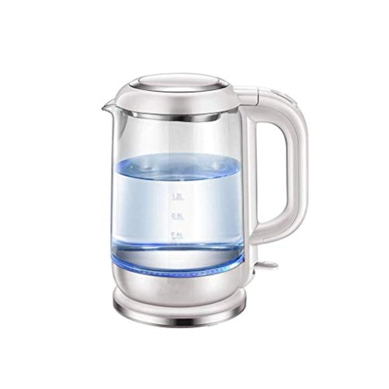名誉ある液体慎重家庭用ガラス電気ケトル、304ステンレス鋼のやかん、簡単にきれいな1.7Lへの迅速なポットミニ寮沸騰水型ティーポット、乾燥防止、 (Color : Silver)