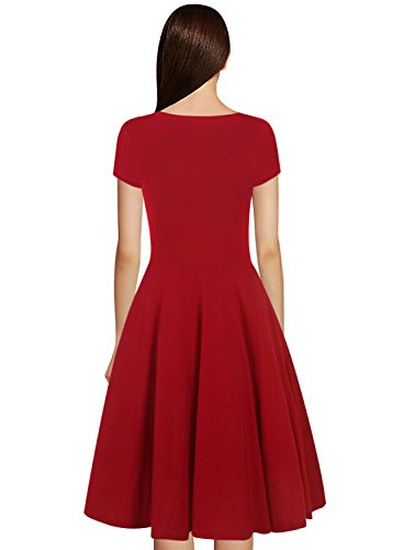 HELYO Graduation Elegant Dresses for Womens Vintage 50s Casual A Line Cap Sleeve V Neck Work Swing Dress 163 Red S