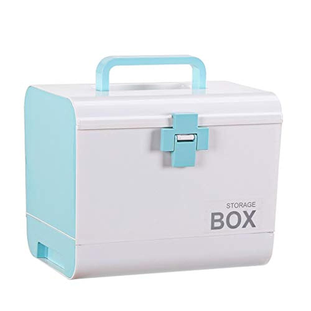 うなずく関係優雅GLJJQMY 薬箱家族薬箱子供救急箱薬収納ボックス医療箱世帯青26.5×18.5×22 cm 薬収納ボックス
